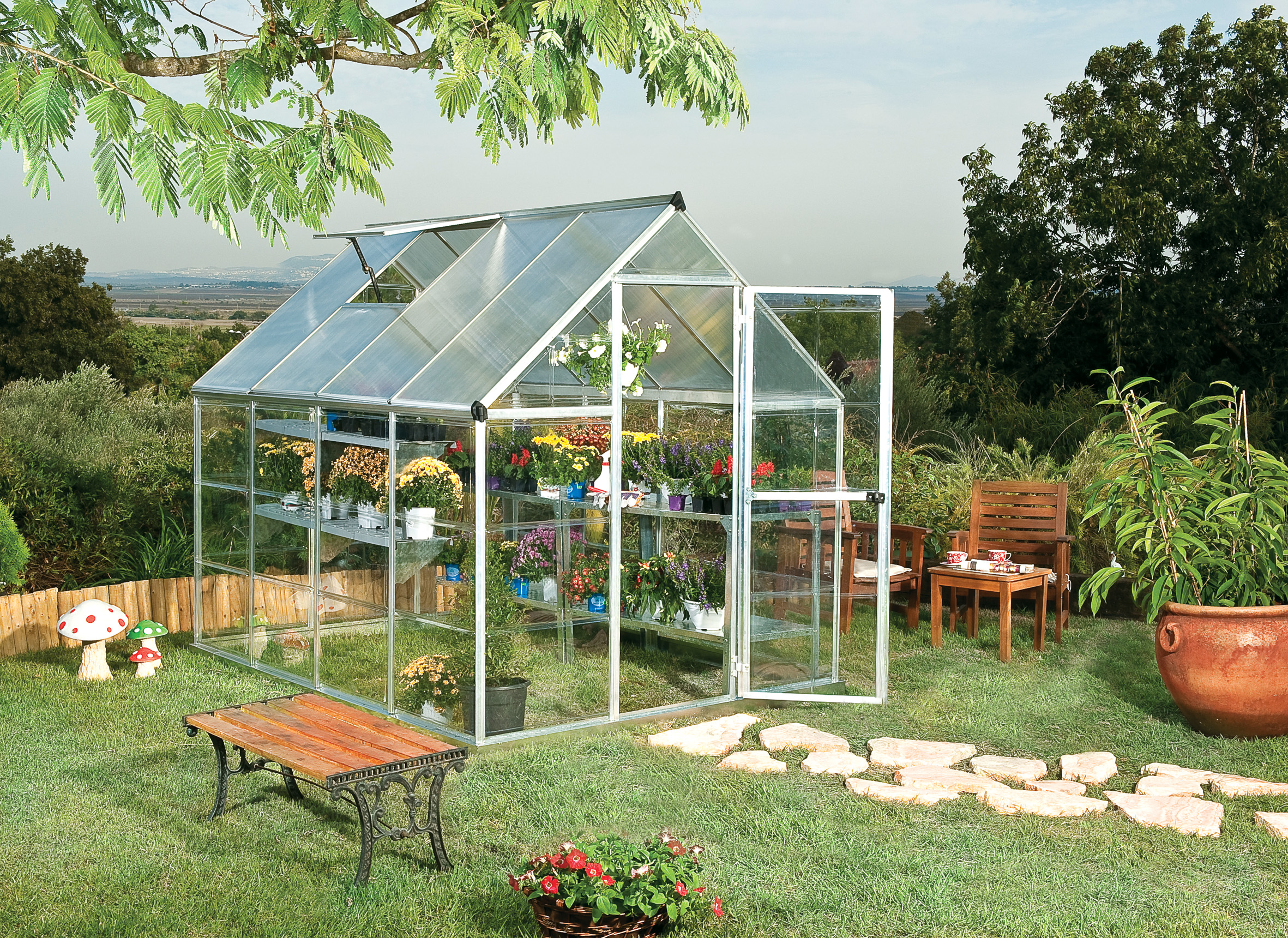 polykarbonátový skleník Palram hybrid 6x8 + ZDARMA základna skleníku + ZDARMA automatický otvírač oken + hnojivo Biocin-FF + prodloužená ZÁRUKA 10 LET