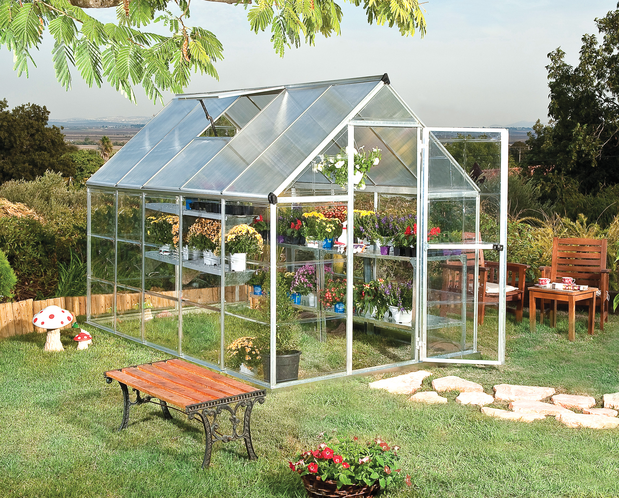 polykarbonátový skleník Palram hybrid 6x10 + ZDARMA základna skleníku + ZDARMA automatický otvírač oken + hnojivo Biocin-FF + prodloužená ZÁRUKA 10 LET