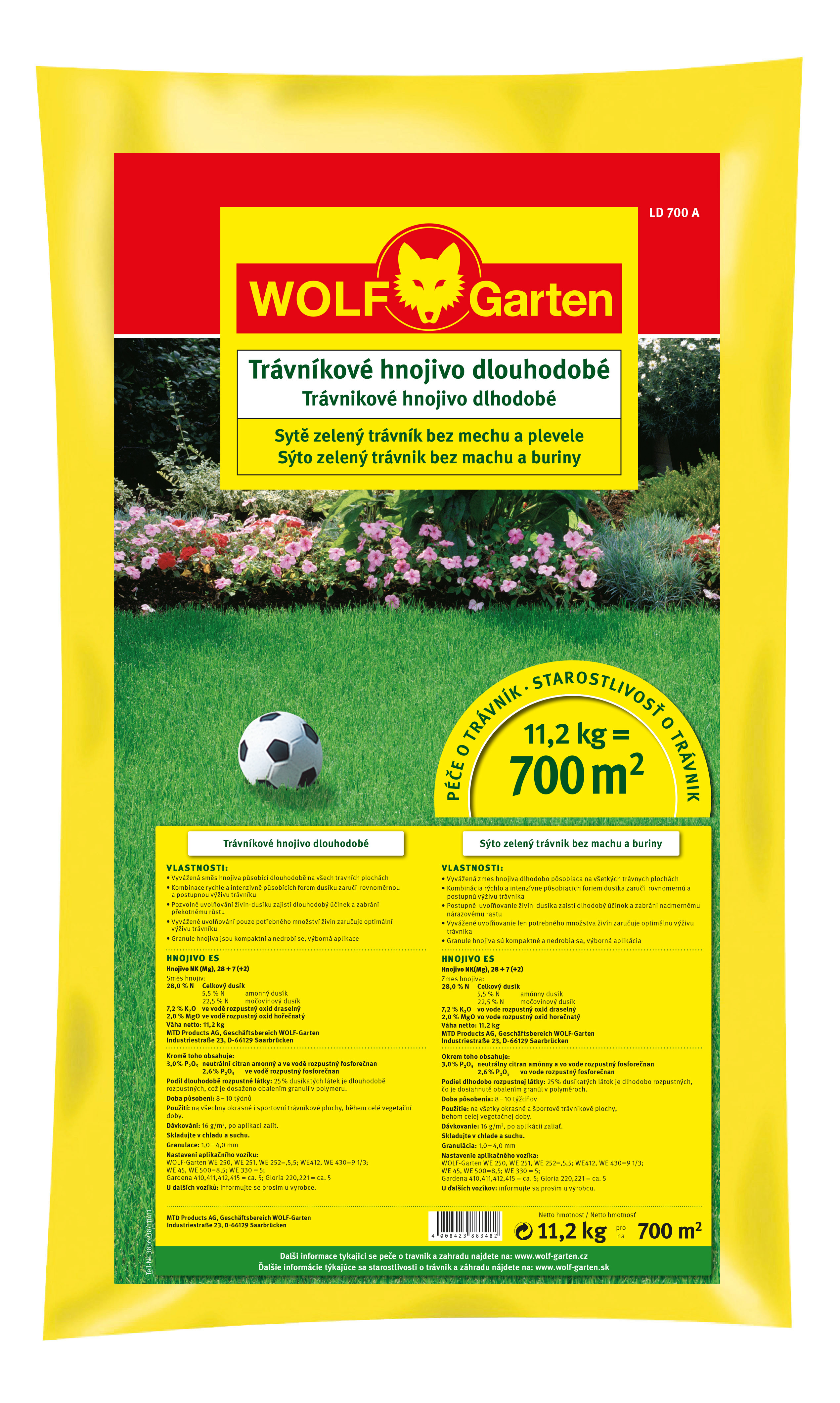 hnojivo na trávník s dlouhodobým účinkem WOLF-Garten LD-A 700