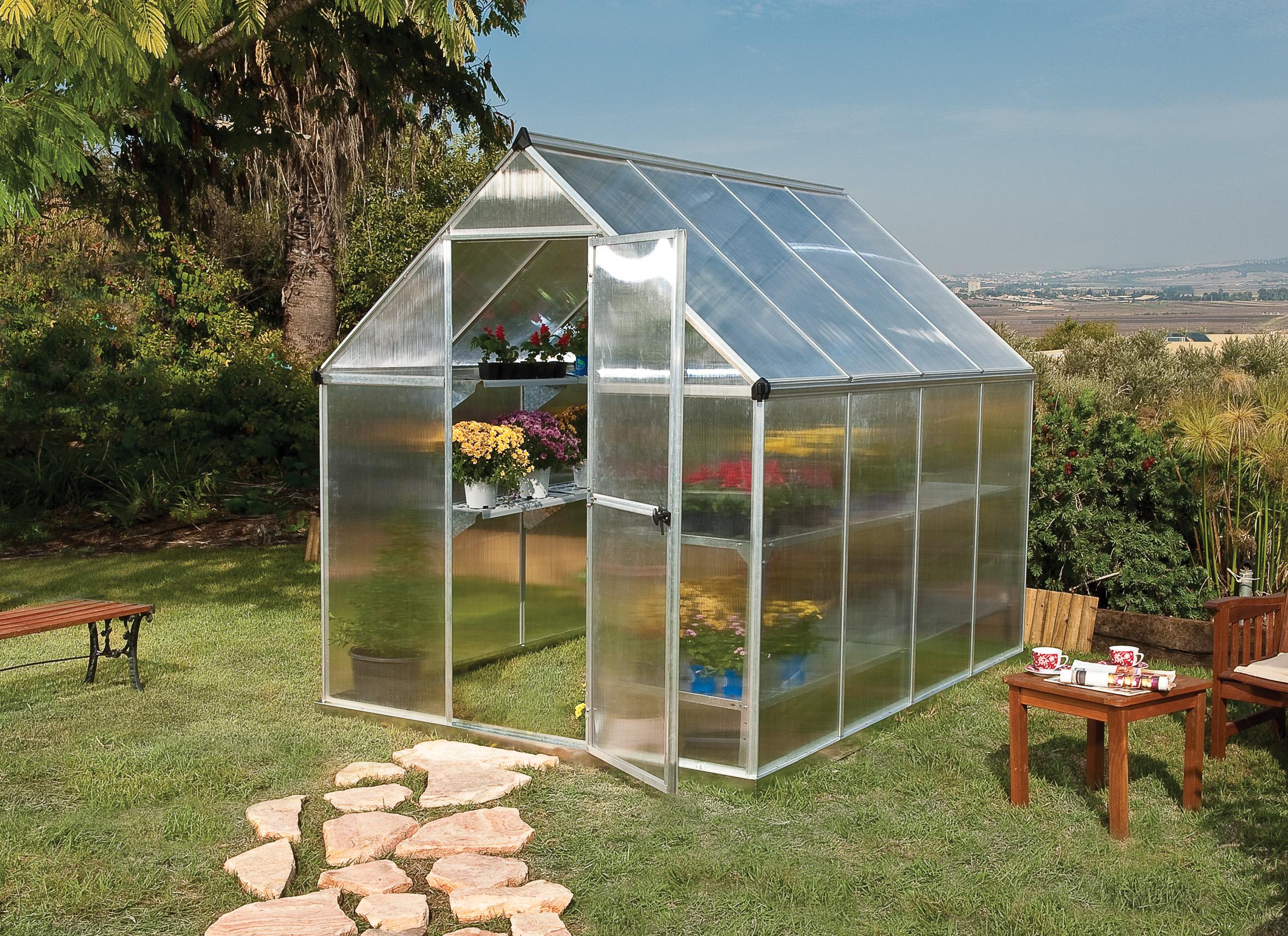 polykarbonátový skleník Palram multiline 6x8 + ZDARMA základna skleníku + ZDARMA automatický otvírač oken + hnojivo Biocin-FF + prodloužená ZÁRUKA 10 LET