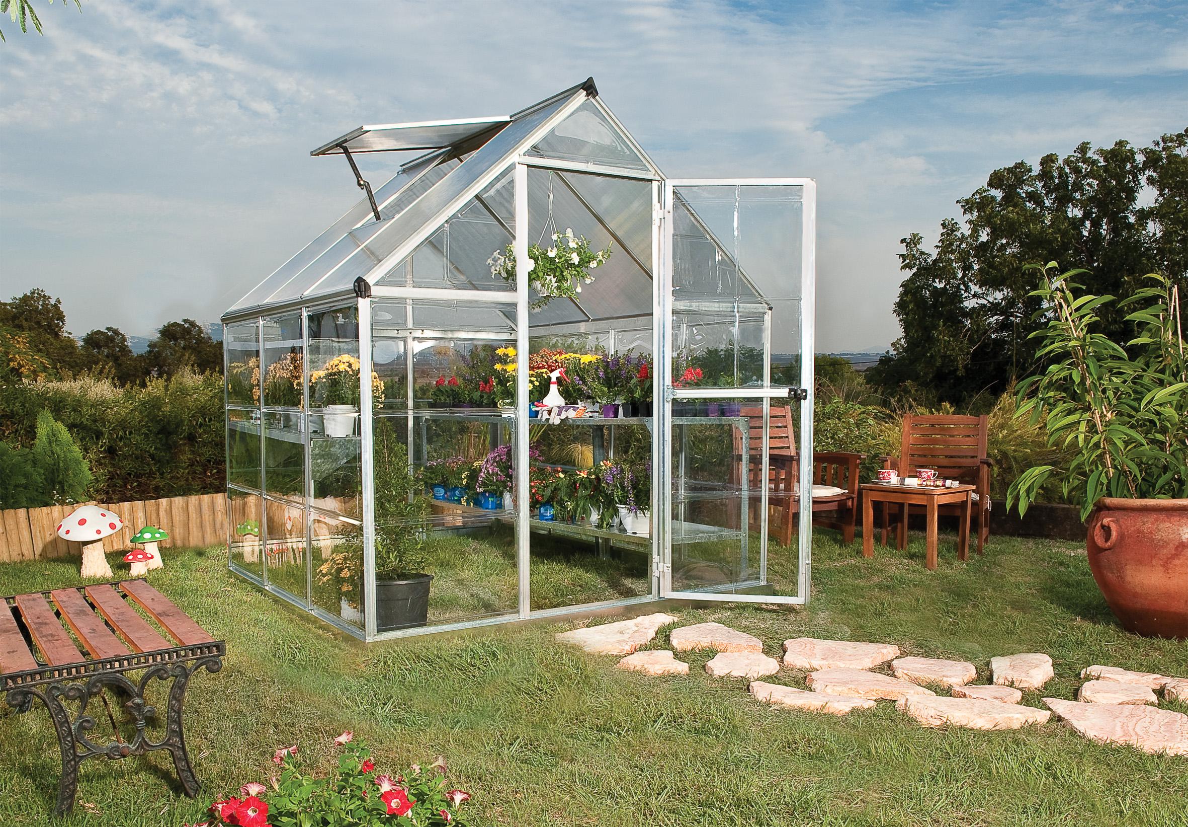 polykarbonátový skleník Palram hybrid 6x6 + ZDARMA základna skleníku + ZDARMA strunová sekačka Fieldmann FZS 2000-E + hnojivo Biocin + prodloužená ZÁRUKA 10 LET