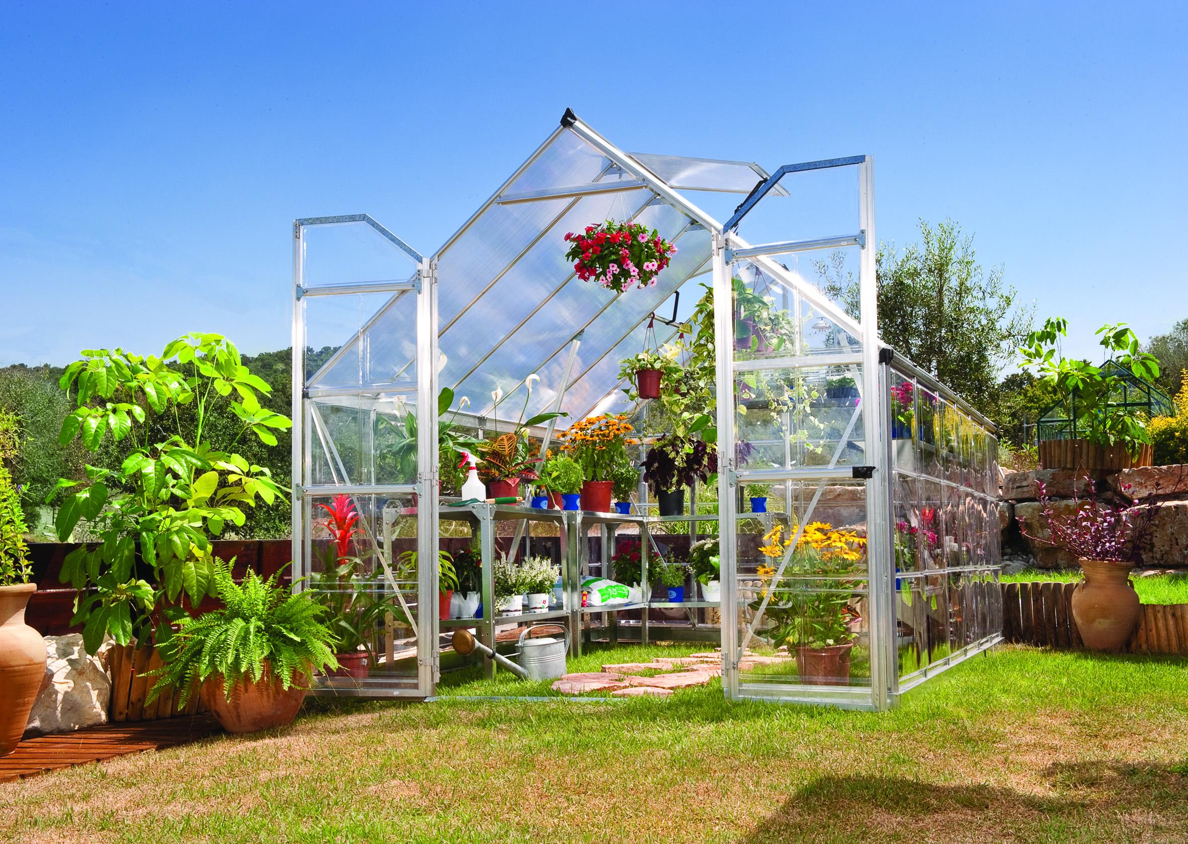 polykarbonátový skleník Palram Balance 8x12 silver + ZDARMA základna skleníku + ZDARMA automatický otvírač oken + ZDARMA sada 10ti háčků pro rostliny + hnojivo Biocin + prodloužená ZÁRUKA 10 LET