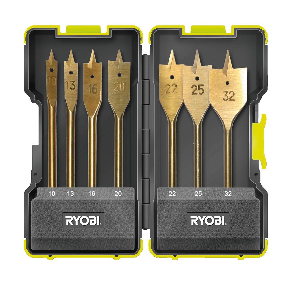 7 ks sada plochých vrtáků Ryobi RAK 07 SB