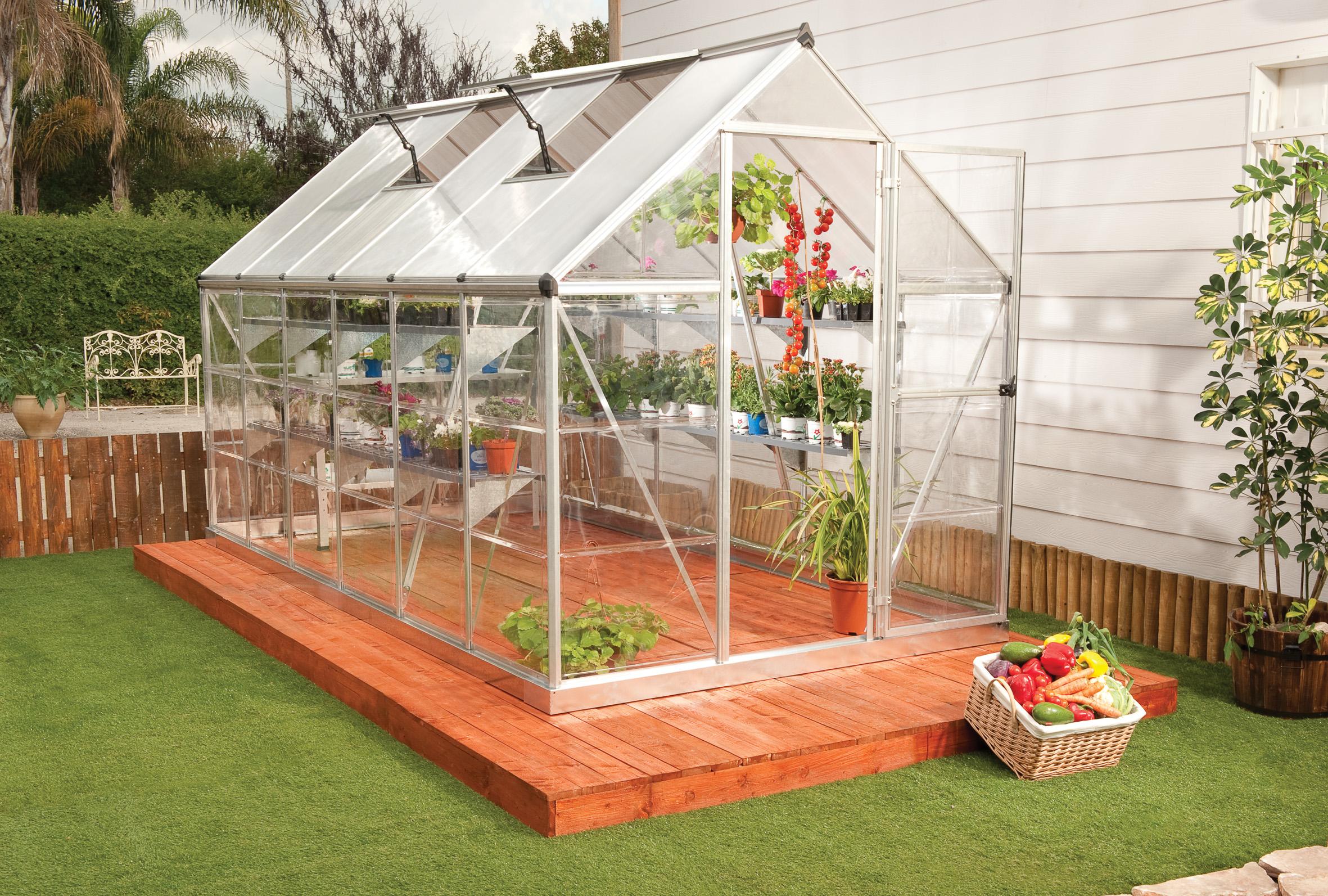 polykarbonátový skleník Palram hybrid 6x12 + ZDARMA základna skleníku + ZDARMA strunová sekačka Fieldmann FZS 2000-E + ZDARMA sada 10ti háčků pro rostliny + hnojivo Biocin + prodloužená ZÁRUKA 10 LET