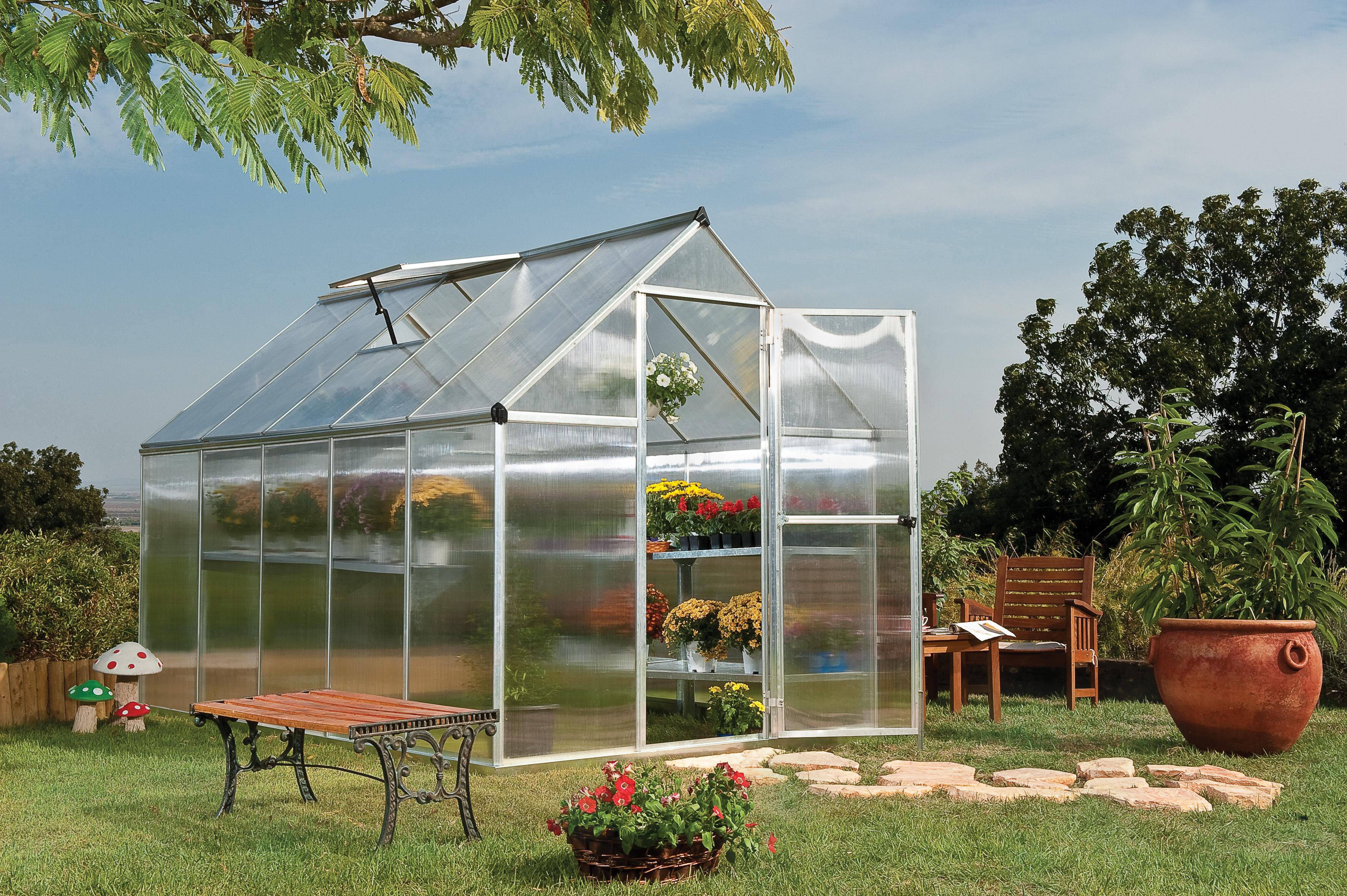 polykarbonátový skleník Palram multiline 6x10 + ZDARMA základna skleníku + ZDARMA strunová sekačka Fieldmann FZS 2000-E + hnojivo Biocin + prodloužená ZÁRUKA 10 LET